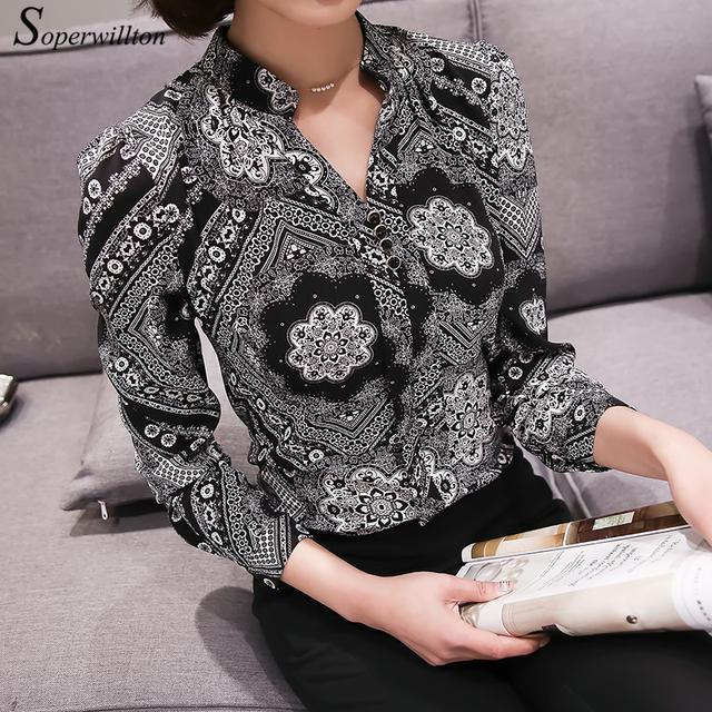 Soperwillton новинка 2016 женщин рубашка шифон летний стиль топы девушкой с длинными ...