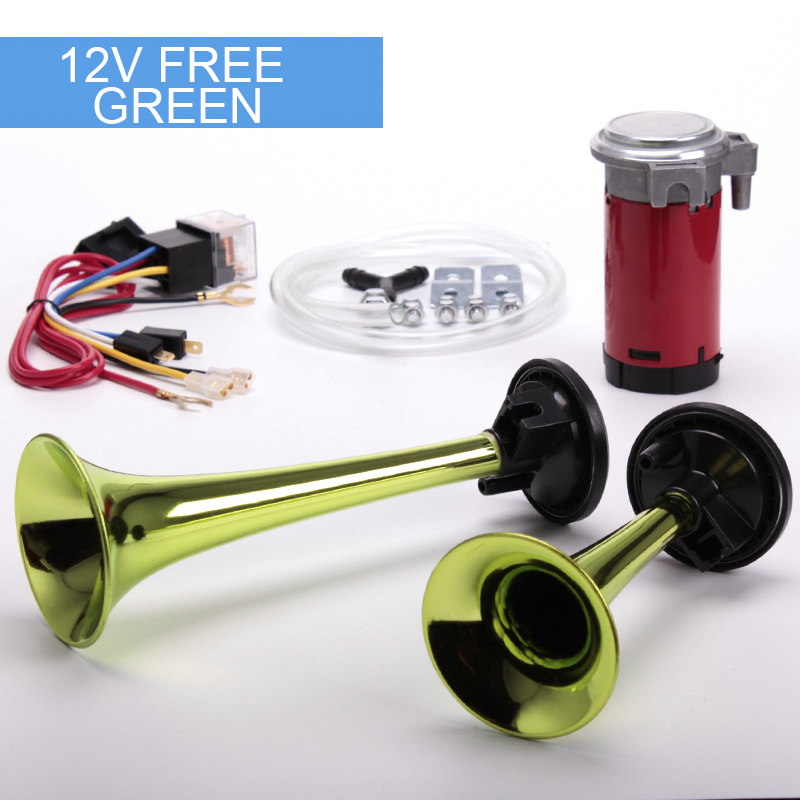 Green car horns twin air 12V super loud whistle horn motorcycle air horns can choose the color can customized FB-SLSG(China (Mainland))