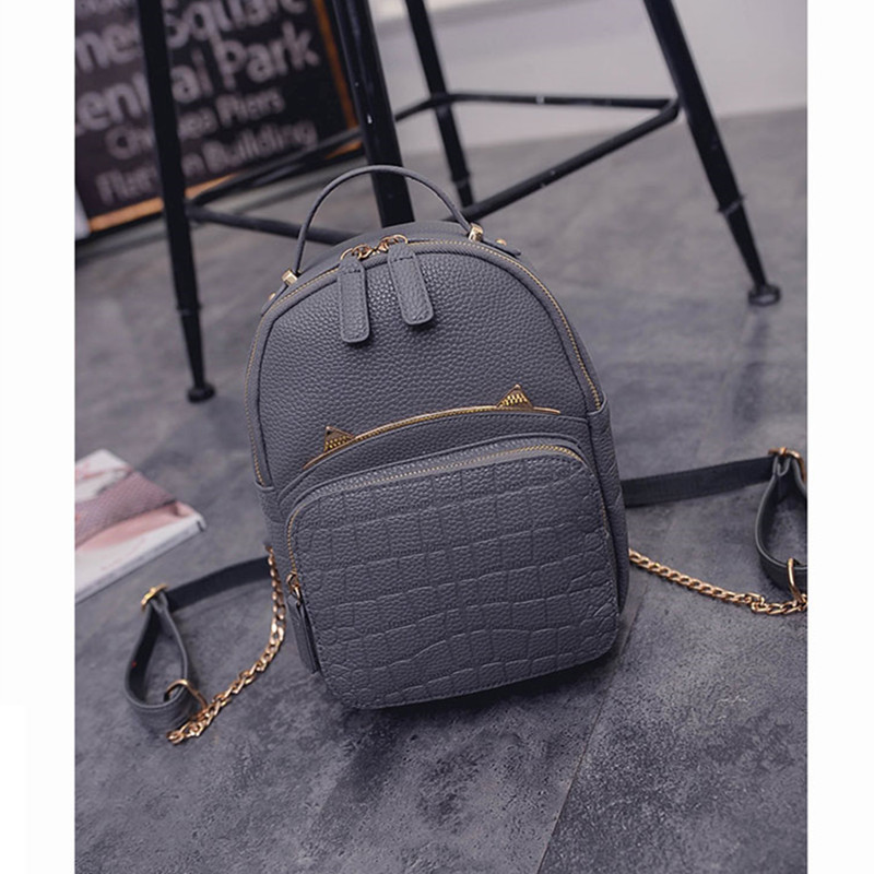 2016 Spring & Summer Trend Women's Cat Backpacks Girls' Fashion Bag Travel PU leather Bags Students' Backpacks(China (Mainland))