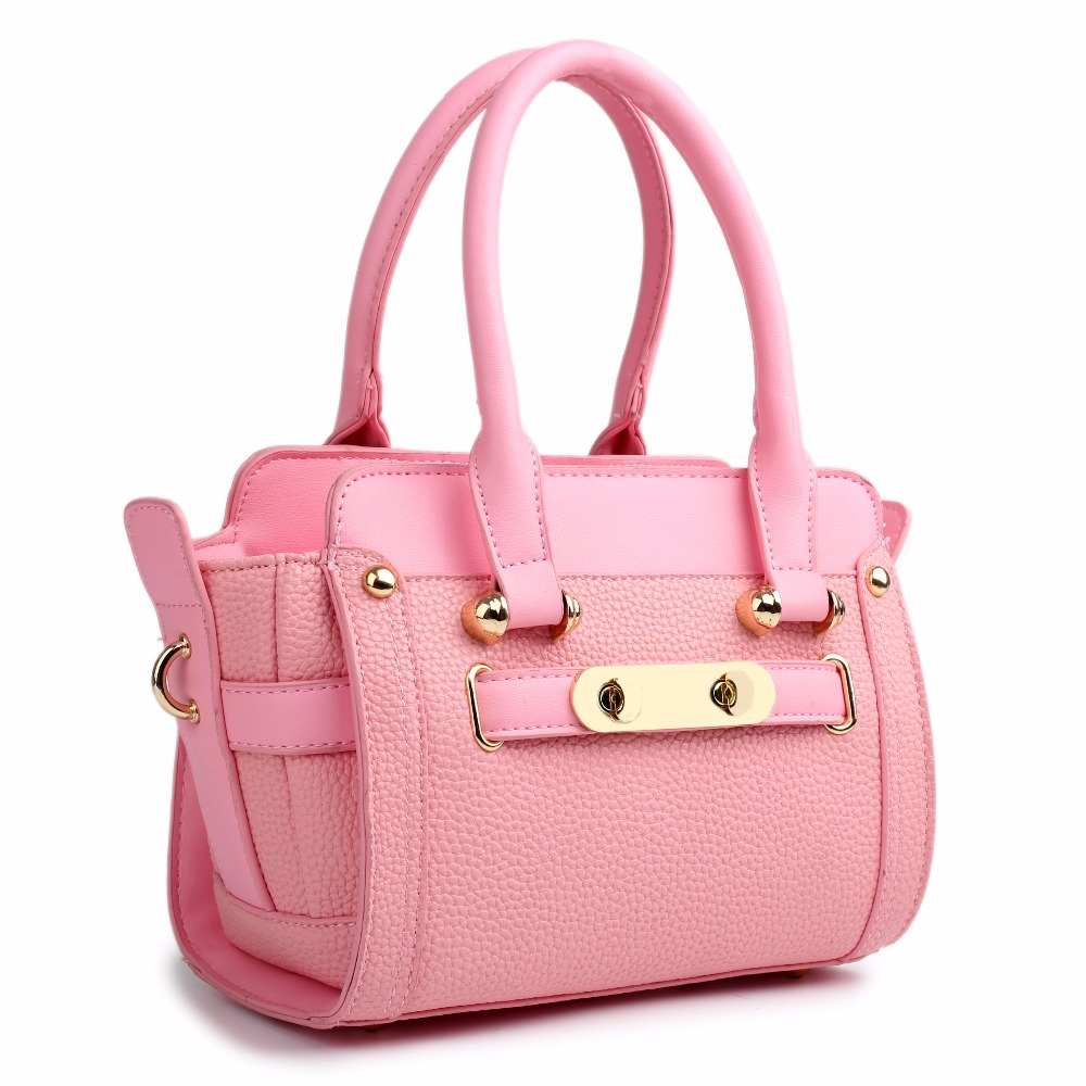 LG1603 - MISS LULU WOMEN DESIGNER CELEBRITY PU LEATHER LOOK SMALL HANDBAG CROSS BODY SHOULDER SATCHEL HAND BAG PINK(China (Mainland))
