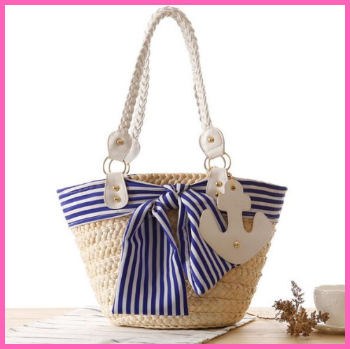 Navy stripe bow straw shoulder bag navy wind anchor hanging woven bag beach bag A381(China (Mainland))