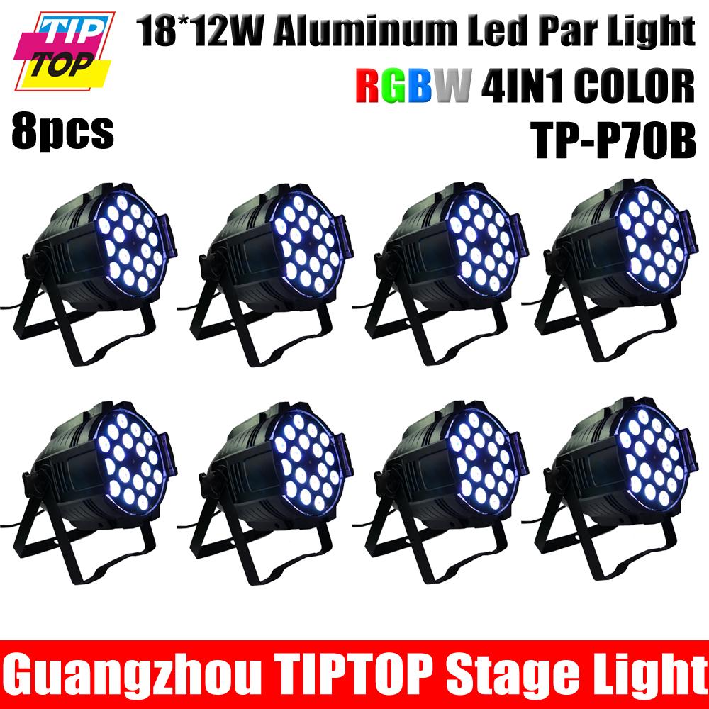 8pcs/lot 18x12W LED Light RGBW 4 Color DMX512 PAR64 CAN DJ Party Club Stage Lighting Aluminum American DJ Mega Par Profile Plus(China (Mainland))