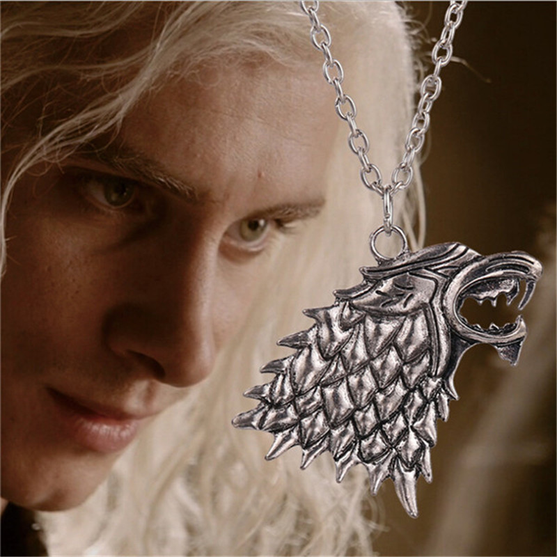 2016 Movie Necklace Of Song Of Ice And Fire Game Of Thrones Stark Wolf Pendant Alloy Metal Silver Color Necklace Movie Jewelry(China (Mainland))