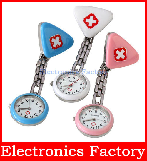 Clip Nurse Doctor Triangle Pendant Pocket Quartz Red Cross Brooch Nurses Watch Fob Hanging Medical(China (Mainland))