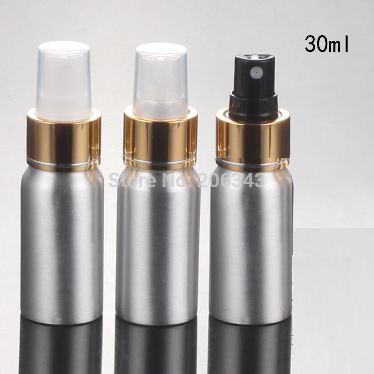 100pcs 30ml Aluminium bottle metal bottle with gold collar transparent/white/black sprayer pump, mist sprayer bottle
