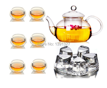 Glass Tea set CLear Teapot Tea Set Heart-shaped Warmer+Infuser+6 Double Wall Cups+10 Candles