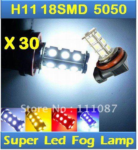 30X H11 18 SMD 5050 LED  FOG LAMP 18 Led High Beam Daytime Running Light  Car Auto Lamp Fog /  Tail / Head light