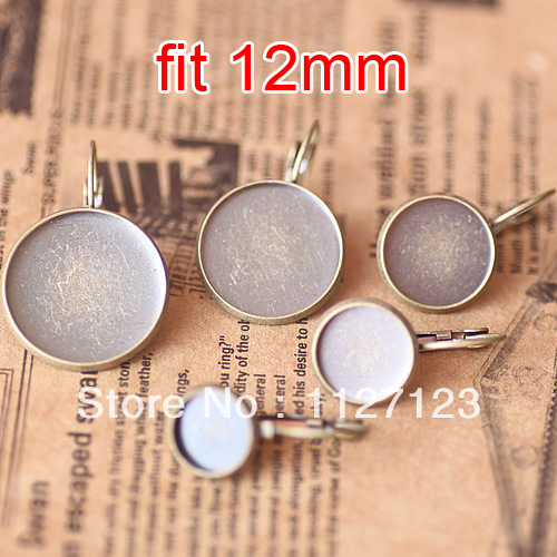 Free ship! Antique bronze 100piece 12mm Round Cabochon Setting Leverback Hook Stud Earing blanks and base trays bezel