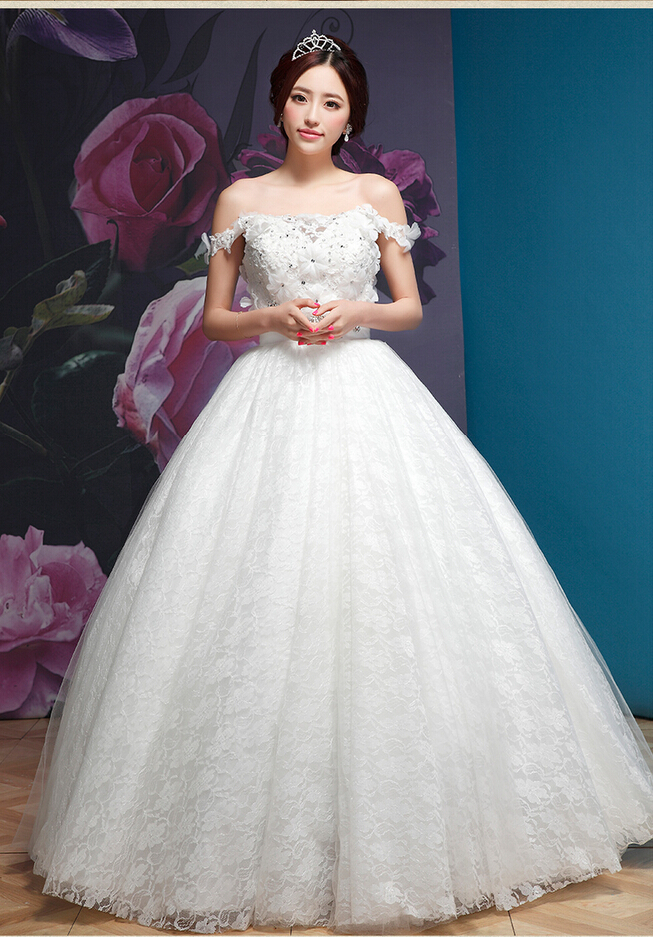 Free Shipping2015 Princess Fashion Lace Slim Sexy Wedding Dress Vintage Double Shoulder Flower Diamond Decor Bridal Gown Formal(China (Mainland))
