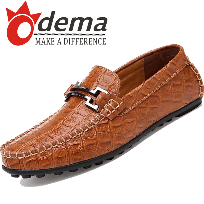 ODEMA 2014men gommini loafers crocodile pattern genuine leather casual mens driving shoes spring autumn fashion mocassin flats<br><br>Aliexpress