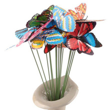 2016 New Arrival 10Pcs Butterfly On Sticks Art DIY Decoration Garden Vase Beautiful Ornament(China (Mainland))