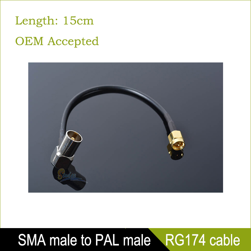 Sindax Connector SMA male to IEC DVB-T TV PAL male right angle adapter RG174 cable jumper pigtail 15cm Drop Shipping(China (Mainland))