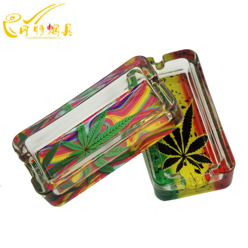 Unique Rectangle Leaf Style High Quality Glass Crystal Cigar Ashtray Home Ashtrays GT-1120(China (Mainland))