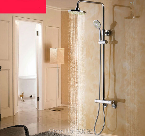 Newly Solid Brass Chrome Finish Thermostatic Shower Set Rainfall Shower Head W/ Hand Shower Wall Mounted