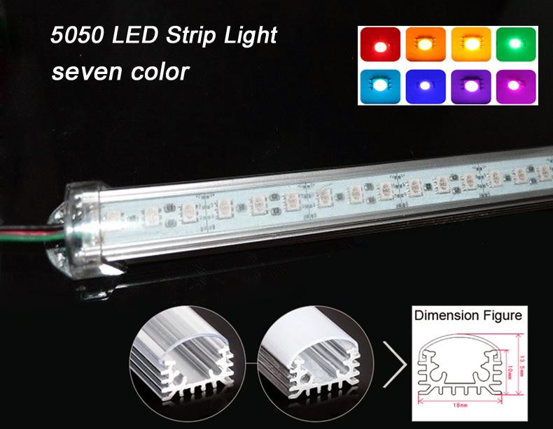 5PCS/Lot 7W 5050 RGB LED Bar U Groove Light 50CM Non-Waterproof 72LEDs/M LED Rigid Strip DC 12V 5050 LED Tube Hard LED Strip(China (Mainland))
