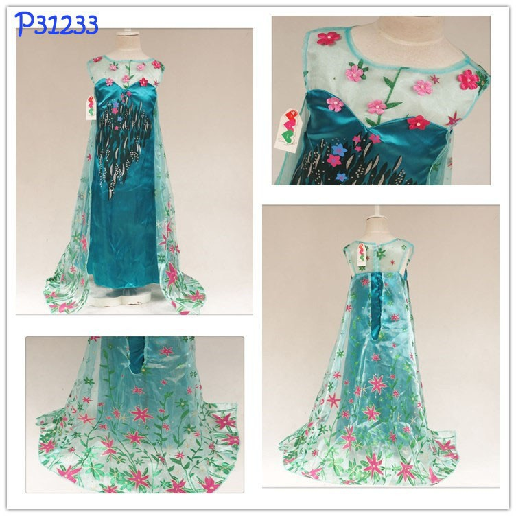 EMS DHL Free shipping Wholesale NEW Elsa Dress Ice Queen Kids Girls Princess dress Lace dress Dress Halloween Summer Style<br><br>Aliexpress