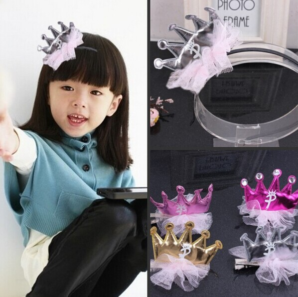 Newest Children Baby Girl's Hairpins Crown Lace Hair Clips Headwears Hair Acessories 5 Colors 10PCS(China (Mainland))