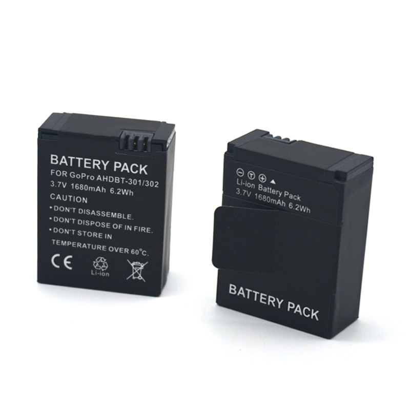 for gopro ahdbt 301 302 1680mah 3 7v li ion rechargeable battery for gopro hd hero 3 3 battery. Black Bedroom Furniture Sets. Home Design Ideas