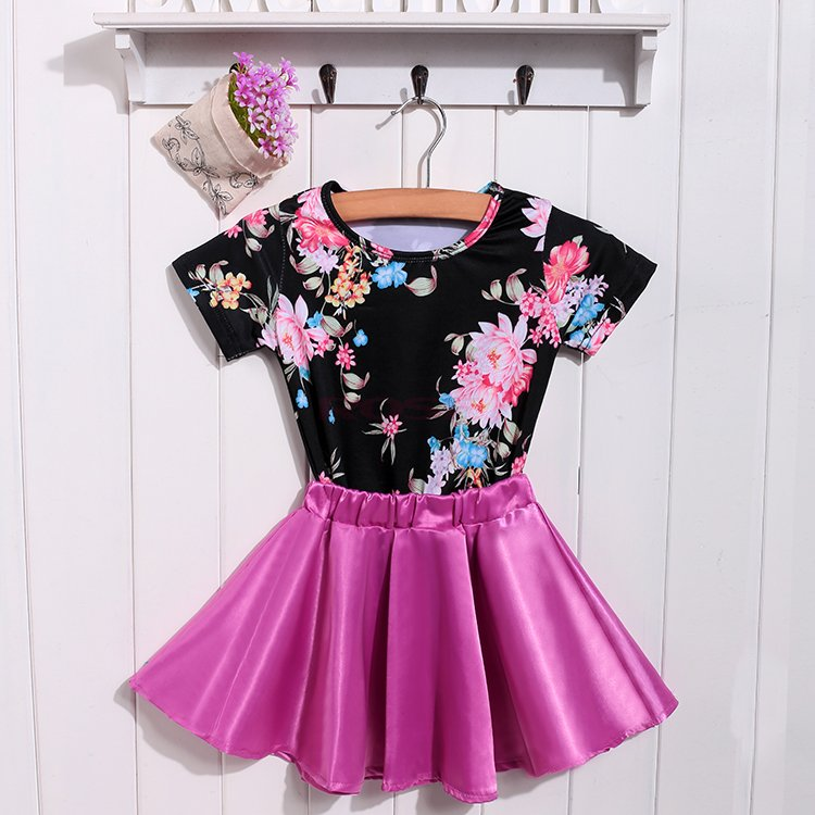 2015 Fashion New Summer Style Baby Girls Clothes Short Sleeve Floral Girl Tops and Pleated Mini Girl Skirt Set Children Clothing(China (Mainland))