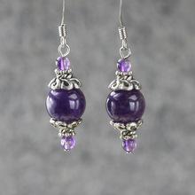 Amethyst delicate earrings ol fashion women drop earrings(China (Mainland))
