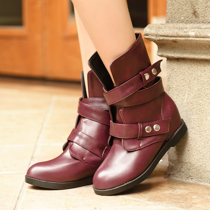 Фотография 2014 spring and autumn ankle Boots fashion vintage Strap buckle flat Motorcycle boots martin boots women