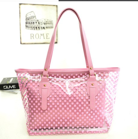 Candy color transparent bags picture package polka dot waterproof beach bag crystal jelly bag one shoulder women's handbag big(China (Mainland))