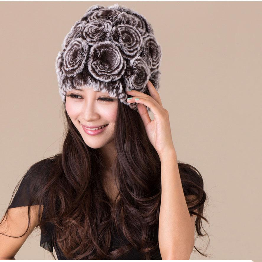 Warm Winter Fur Hats 2015 Real Rex Rabbit Fur Caps for Female Knitted Caps with Flowers Autumn Ladies Fashion Elastic Headwear(China (Mainland))