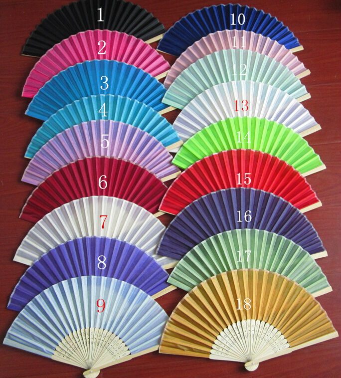 New 80pcs/lot Factory Price Folding Wedding Silk Fan Personalized Wedding Favors For Guest 18 Color Free Shiping(China (Mainland))
