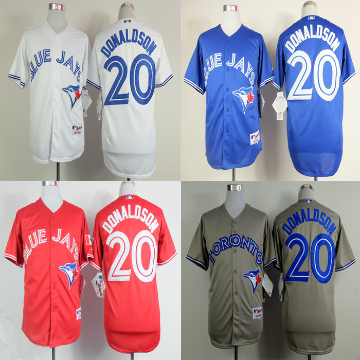 #20 Josh Donaldson Jersey Toronto Blue Jays Jersey Grey Blue Red White Baseball Jersey(China (Mainland))