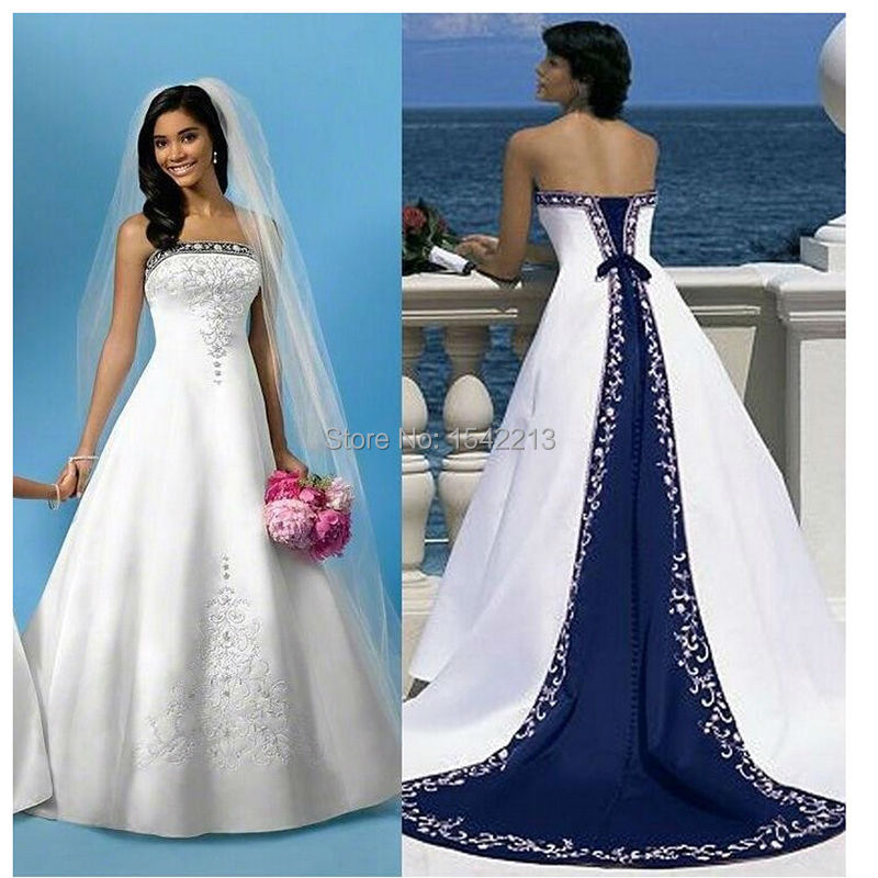 White and royal blue wedding dress embroidery long train for Lilac and white wedding dress