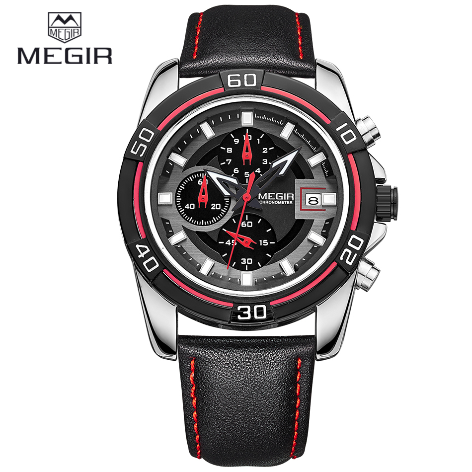 Brand New MEGIR Chronograph & 24 Hours Mens Quartz Watch Black Leather Band Business Casual Watches Men Wristwatch Montre Homme
