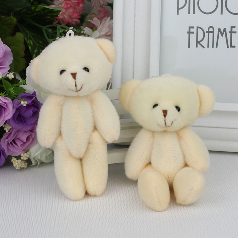 H-12cm beige color plush stuffed toy joint bear cartoon bouquet packaging material joint mini teddy bear 12pcs(China (Mainland))