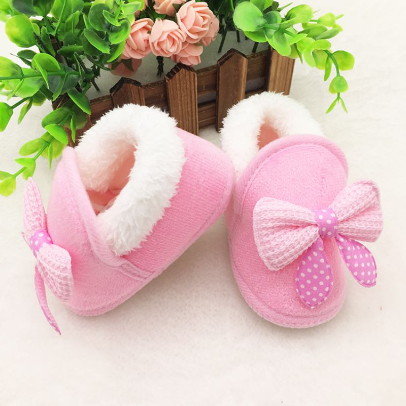 Top quality soft comfortable winter Newborn Infant BebeToddler Girls Warm New Bow Snow Shoes Baby Walker Crib Boots Newborns 082(China (Mainland))