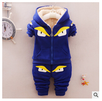 Children's jacket plus thick velvet baby cartoon piece suit 1-2-3-4 years winter funds Boys and girls sports suit Free shipping(China (Mainland))