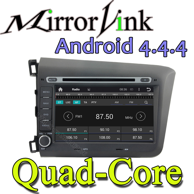 Qua Core android 4.4 Car DVD Player GPS Navigation CD Radio WiFi USB Map card 3G Bluetooth TV In dash 2 Din for Honda CIVIC 2012(China (Mainland))