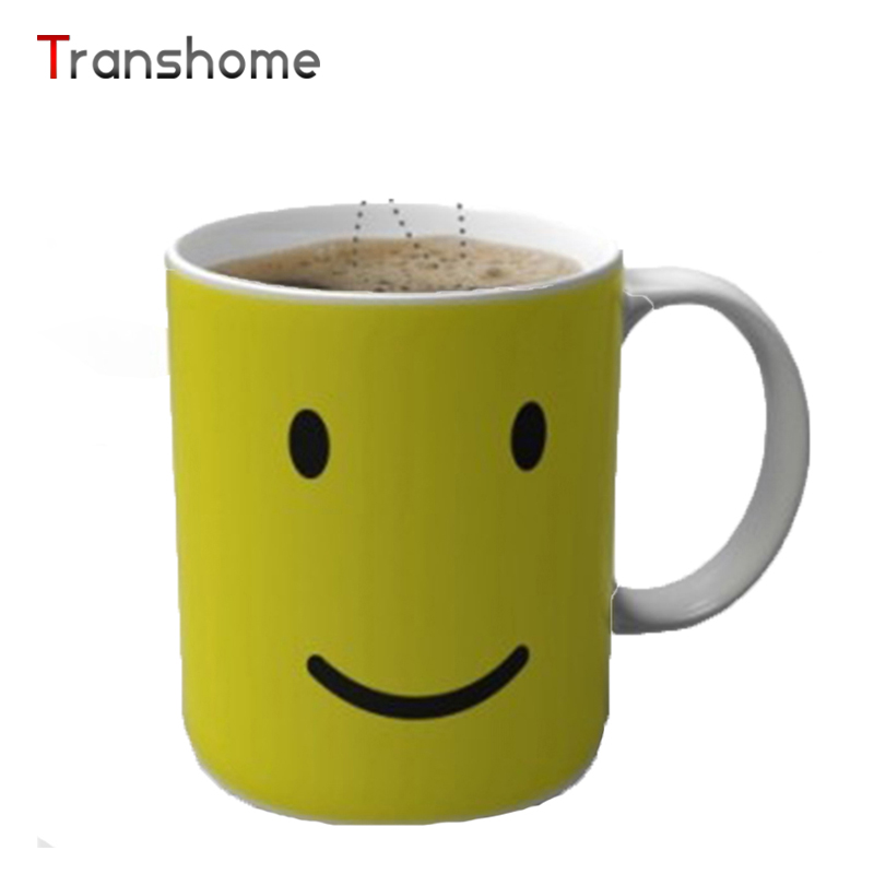 Transhome 2017 NEW Heat Changing Color Mug Sensitive Home Magic Smile Hot Reactive Ceramic Mng Coffee&Tea For Gift(China (Mainland))