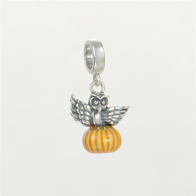 S925 стерлингового серебра Jewerly летать сова животных бусины DIY выводы подходит европейский бренд очаровывает браслеты и ожерелье