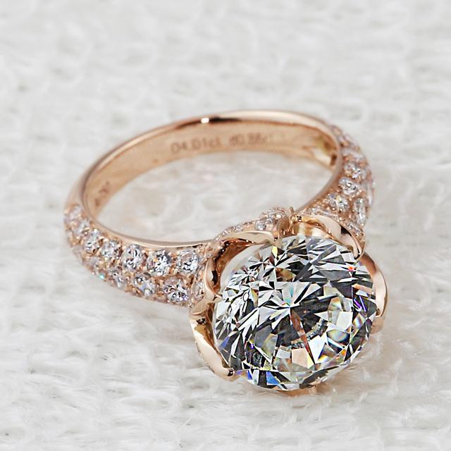 Luxury 4 carat lab diamond rings, chapado en oro rosa anillos de compromiso y boda