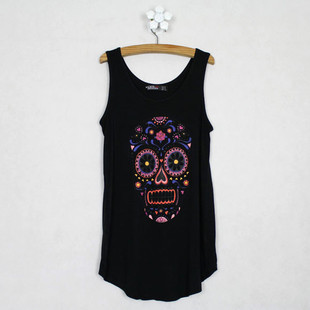 Fashion loose sleeveless modal small vest basic shirt skull print female spaghetti strap short thin design