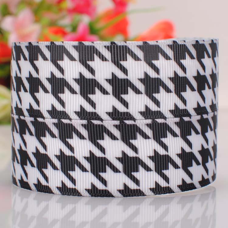 "50 yards 1""(25mm)Black Bat plaid hairbow diy grosgrain ribbon free shipping(China (Mainland))"