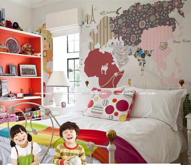 2015 customize large wallpaper map of the world for kids for Kids room world map