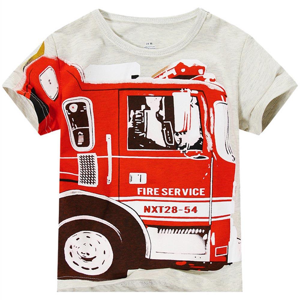 Baby Boy T-shirt Children Short Sleeve Top Shirt Fire Truck Brand New Summer T-shirt Kid Boy Solid Cotton T-shirt Clothes(China (Mainland))