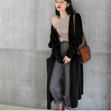 2018 новый осенне-зимний кашемировый кардиган женский длинный свободный толстый свитер выше колена удобный свитер пальто куртка(China)