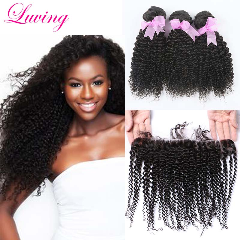 7A Mongolian Kinky Curly Lace Frontal With Bundles,Unprocessed Kinky Curly Virgin Human Hair 3 Bundles With Lace Frontal Closure<br><br>Aliexpress