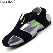 2015 Summer Sandals Men Closed Toe Fashion Beach Men Sandals Flexional Suede Leather Men Shoes Beach Shoes XMH0023-0.5 Big Size(China (Mainland))