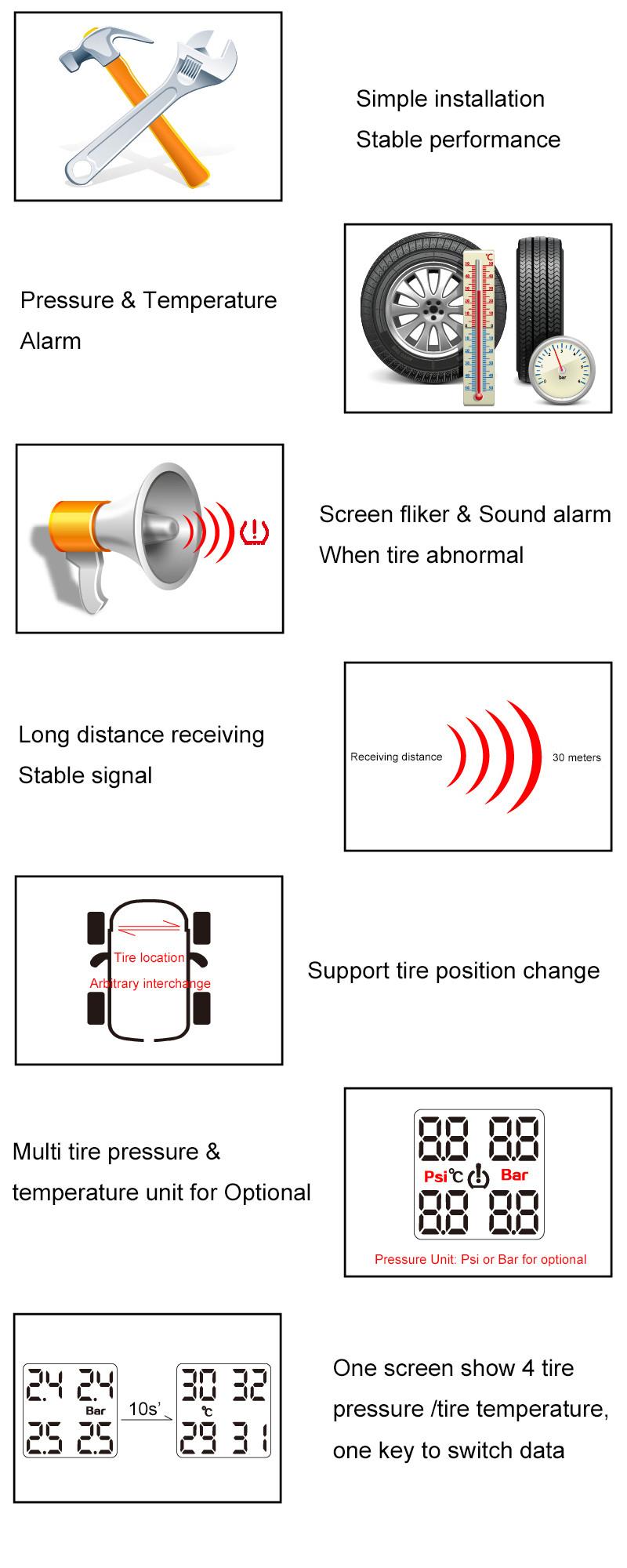 Купить Профессиональный автомобильный беспроводной шины система контроля давления в TPMS 4 внешних датчиков ЖК синий экран прикуривателя TPMS