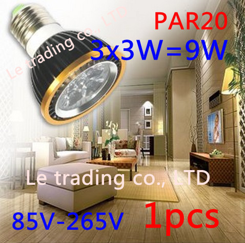 1Pcs/lot Par20 Led Lamp E27 Dimmable 3X3W 9W Spotlight Led Light Led Bulbs 85V-265V Energy Saving Free shipping