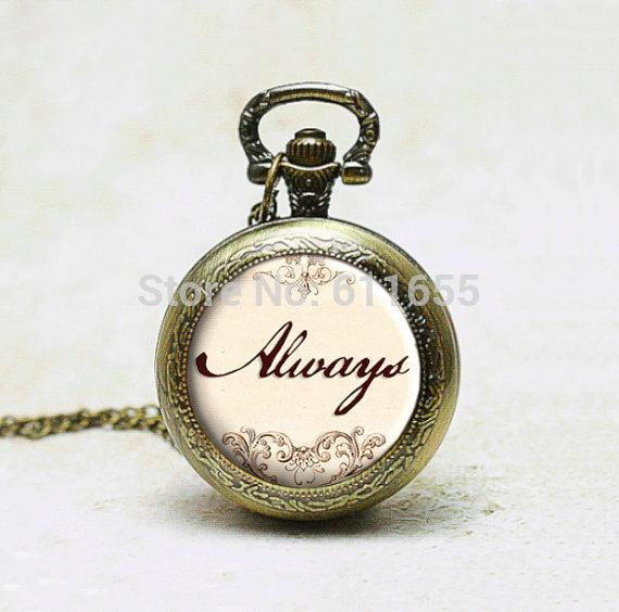 Always Harry Potter 12pcs/lot pocket watches quartz locket necklace geekery Jewelry steampunk style vintage wholesale watch mens<br><br>Aliexpress