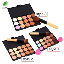Buy Pro 15 Colors Makeup Cream Concealer Contour Corrector Palette + Water Sponge Puff + Powder Brush Cosmetic Makeup Brushes Tools for $5.02 in AliExpress store