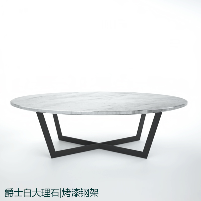 Custom Stainless Steel Paint White Natural Marble Oval Coffee Table
